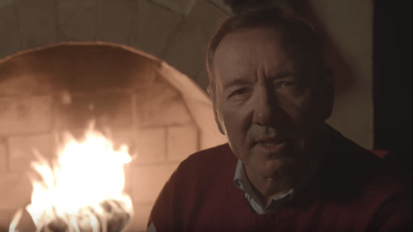 Kevin Spacey weird creepy bizarre video Christmas Eve fire fireplace House of Cards character Frank Underwood kindness