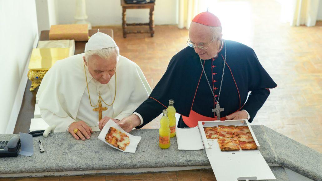 Netflix, The Two Popes, Jonathan Pryce, Anthony Hopkins, Pizza