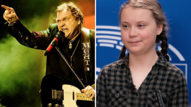response climate change denier quote brainwashed sex god clapback Meat Loaf (photo via artist's Facebook) and Greta Thunberg (photo via Flickr/European Parliament)