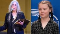 birthday poem poetry climate change tour dates Patti Smith (photo by Ben Kaye) and Greta Thunberg (photo via Flickr/European Parliament)