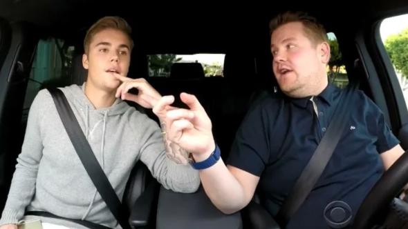 carpool karaoke james corden justin bieber fake