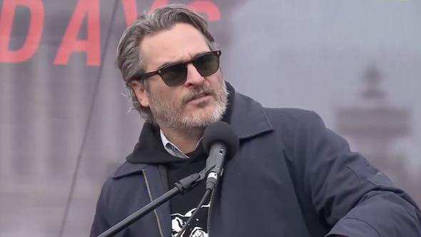 joaquin phoenix arrested jane fonda protest rally