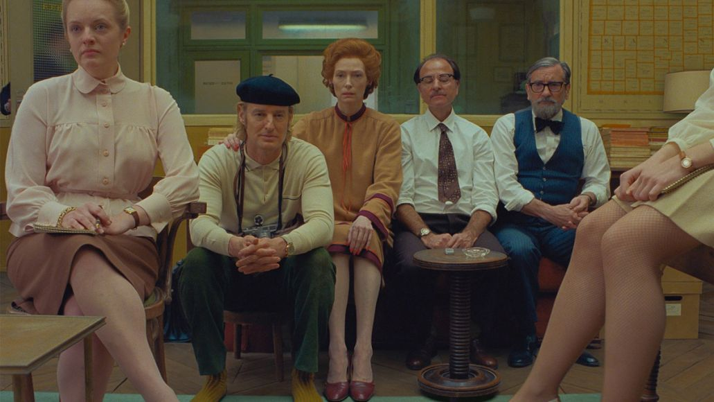 Elisabeth Moss, Owen Wilson, Tilda Swinton, Fisher Stevens, and Griffin Dunne in The French Dispatch (Searchlight Pictures)