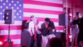 Tom Steyer performs with Juvenile