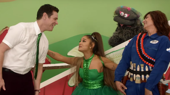 ariana grande jim carrey kidding tv showtime video watch