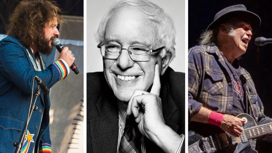 Jim James (photo by Ben Kaye), Bernie Sanders, Neil Young (photo by Debi Del Grande) digital rally