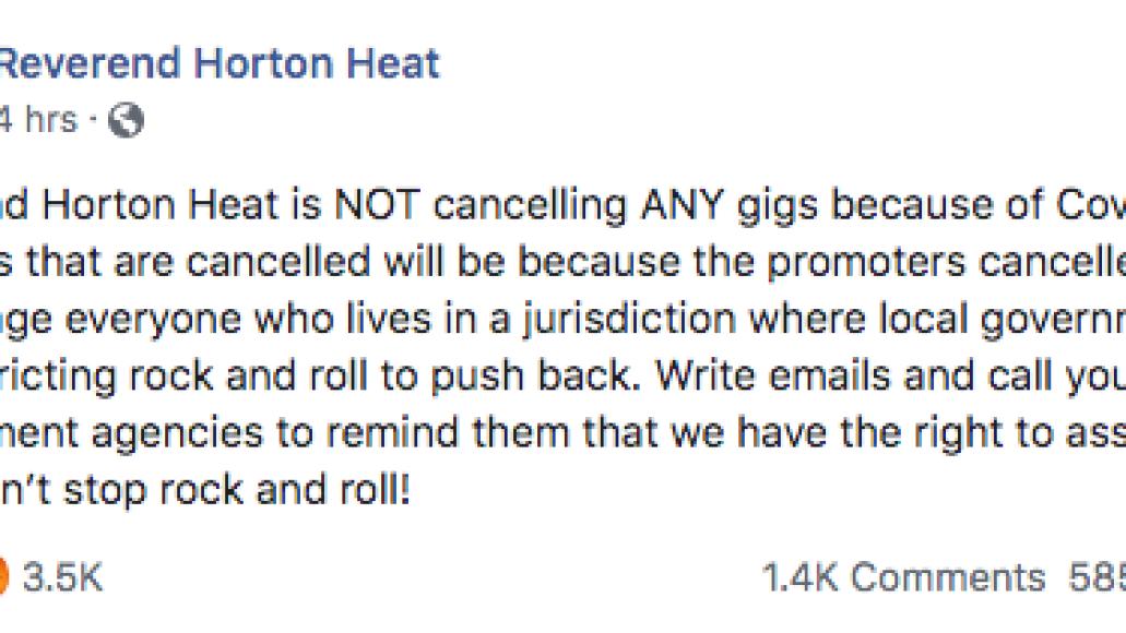 Reverend Horton Heat tweet 1