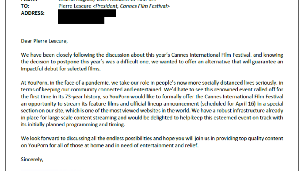 YouPorn letter to Cannes Film Festival