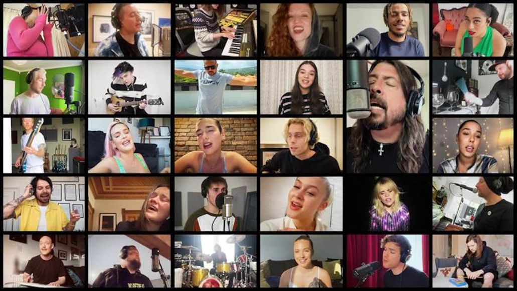 Dave Grohl of Foo Fighters, Chris Martin of Coldplay, Dua Lipa, and more Foo Fighters Times Like These cover song