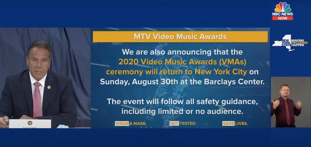 2020 vmas date location cuomo coronavirus 2020 MTV VMAs to Take Place in NYC with Limited or No Audience Due to Coronavirus