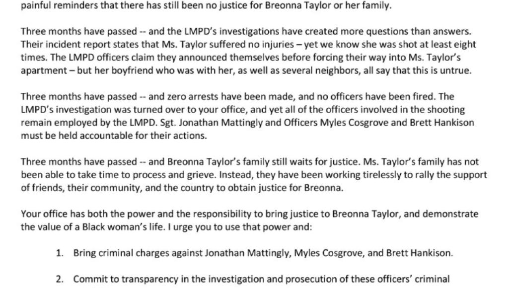 Beyonce Open Letter Beyoncé Demands Justice for Breonna Taylor in Open Letter to Kentuckys Attorney General