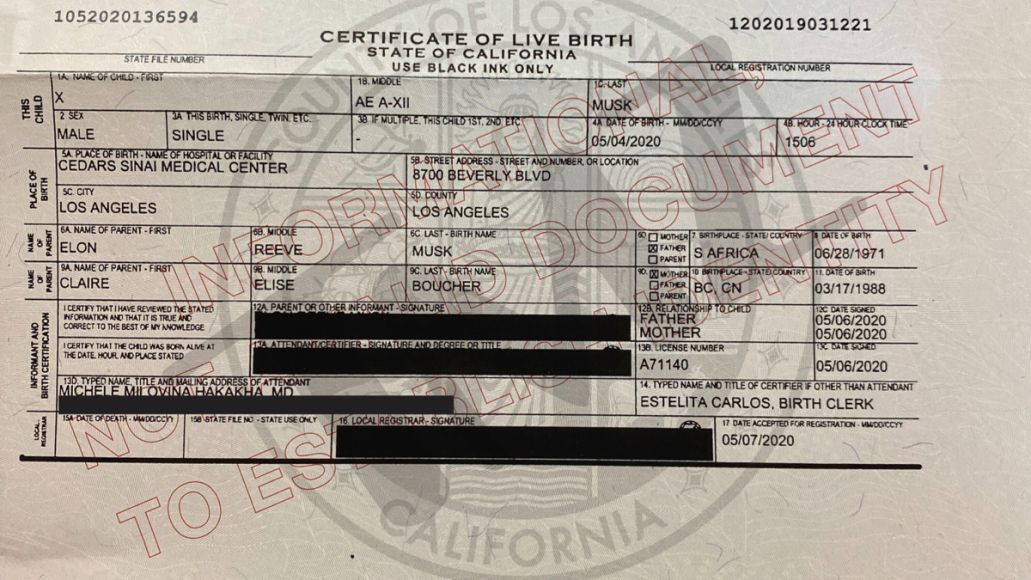Grimes and Elon Musk birth certificate
