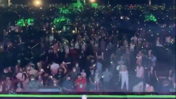 Crowd at The Chainsmokers drive-in concert in The Hamptons