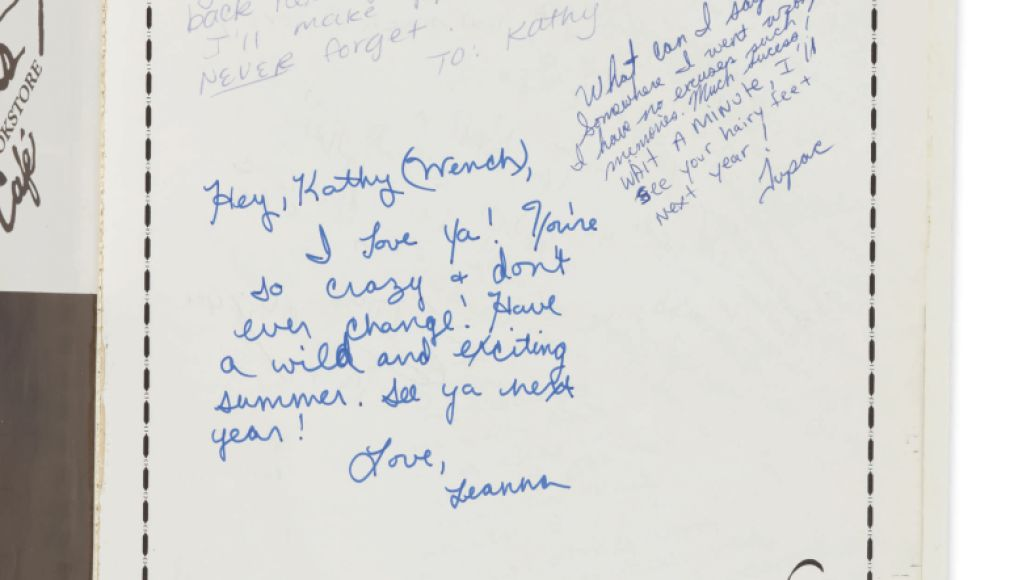 10395 Kathy Loy Yearbook Signed by Tupac Shakur Sothebys to Auction Off The Notorious B.I.G.s King of New York Crown