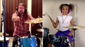 Dave Grohl and Nandi Bushell drum-off