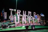 """The """"Trump Unity Bridge"""" is parked outside of a hotel during the 80th annual Sturgis Motorcycle Rally on Saturday, Aug. 15, 2020, in Sturgis, S.D. (Amy Harris)"""