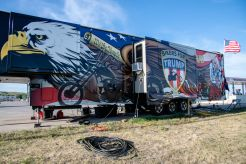 """The """"Bikers for Trump"""" mobile command station is parked off of Main Street during the 80th annual Sturgis Motorcycle Rally on Saturday, Aug. 15, 2020, in Sturgis, S.D. (Amy Harris)"""