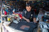 Too Schizas of RM Leathers works on a leather jacket during the 80th annual Sturgis Motorcycle Rally on Friday, Aug. 14, 2020, in Sturgis, S.D. (Amy Harris)