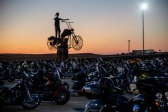 Bikes are parked as the sun sets at the Full Throttle Saloon during the 80th annual Sturgis Motorcycle Rally on Friday, Aug. 14, 2020, in Sturgis, S.D. (Amy Harris)