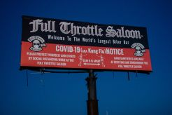 Signage outside of the Full Throttle Saloon during the 80th annual Sturgis Motorcycle Rally on Friday, Aug. 14, 2020, in Sturgis, S.D. (Amy Harris)
