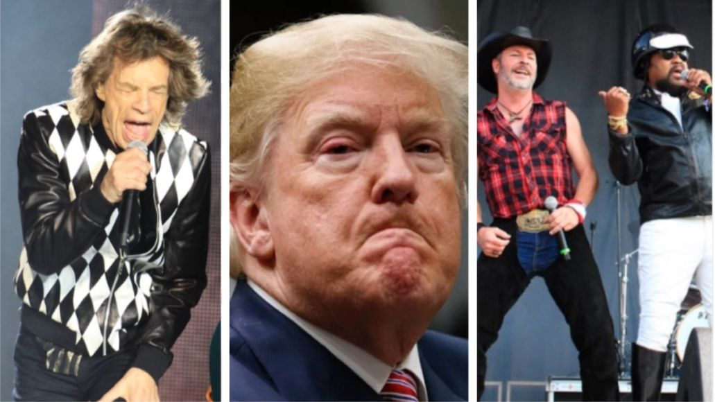 Trump Rolling Stones You Can't Always Get What You Want rally walk off song YMCA The Rolling Stones (photo by Heather Kaplan), Donald Trump, and Village People (photo by Heather Kaplan)