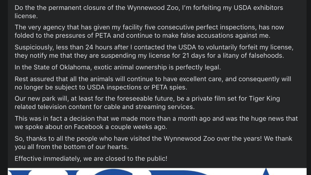 tiger king zoo park closed jeff lowe joe exotic first facebook post