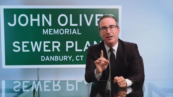 john oliver last week tonight danbury connecticut sewage plant charity