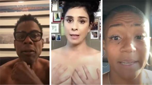 Chris Rock, Sarah Silverman, Tiffany Haddish, celebrities voting PSA vote naked ballot nude (photos via YouTube)