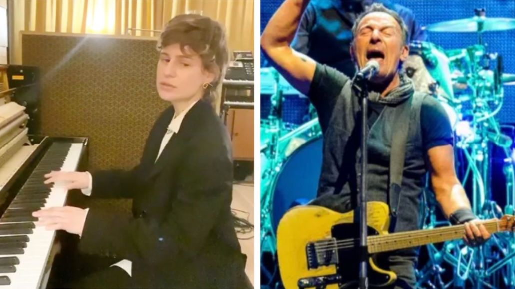 Christine and the Queens (photo via Instagram) and Bruce Springsteen (photo by Ben Kaye) Christine and the Queens Bruce Springsteen I'm on Fire cover piano stream watch