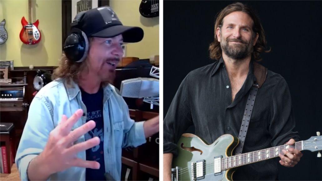 Eddie Vedder Bradley Cooper advice A Star Is Born quote coach Eddie Vedder (photo via YouTube) and Bradley Cooper (photo via Warner Bros.)
