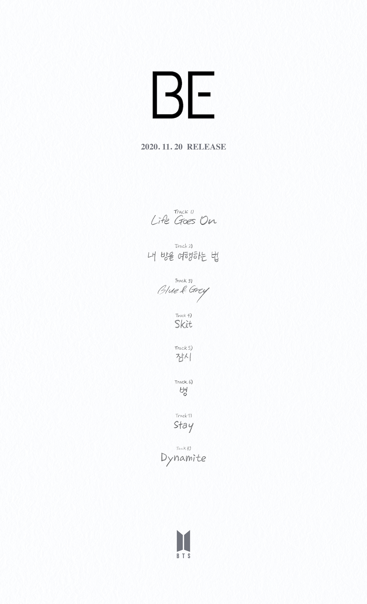 bts be album TRACKLIST BTS Reveal Tracklist for New Album BE (Deluxe Edition)
