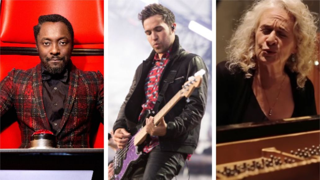 Joe Biden Fall Out Boy concert inauguration We the People show livestream Will.i.am (photo via NBC), Fall Out Boy (photo by Philip Cosores), Carole King (photo via YouTube)