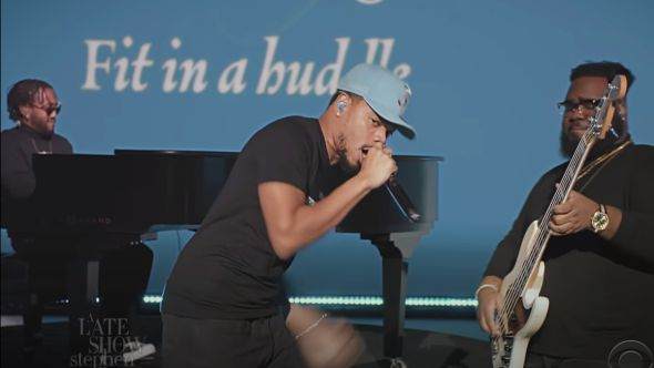 chance the rapper peter cottontale together stephen colbert late show inauguration