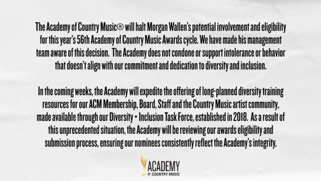 Morgan Wallen statement from the Academy of Country Music