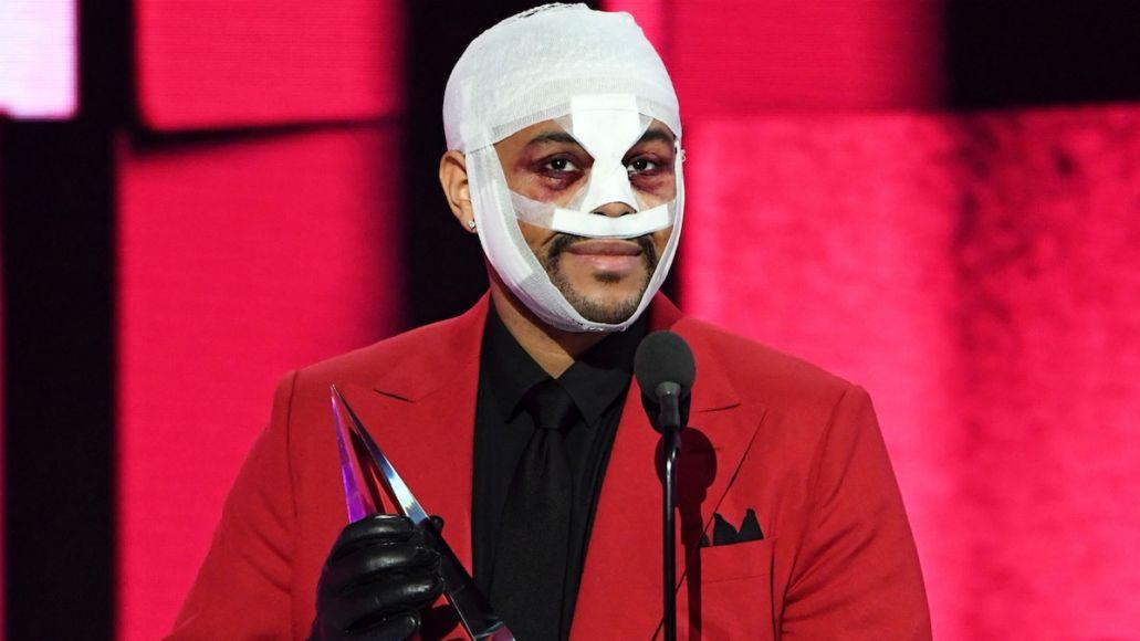 The Weeknd bandages face nose surgery injury, photo via ABC
