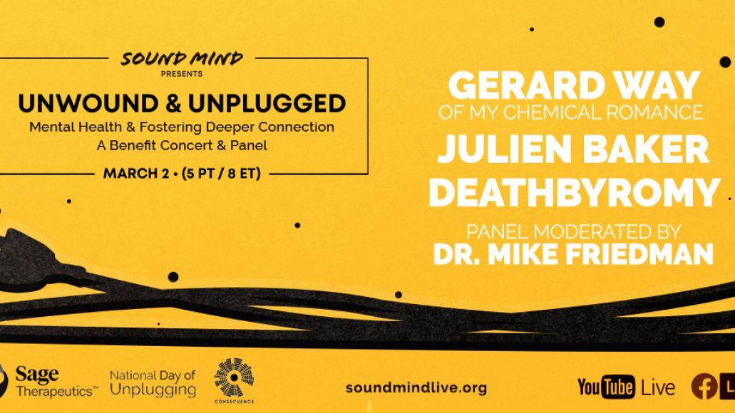 sound mind live unwound unplugged livestream concert poster julien baker gerard way