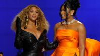 Beyonce and Megan Thee Stallion at the 2021 Grammys