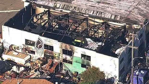 Aftermath of Ghost Ship fire, photo via KGO-TV