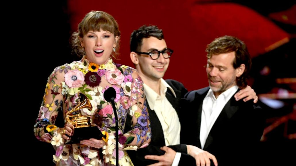 Grammy Awards ratings 2021 Grammys viewers total Taylor Swift, Jack Antonoff, and Aaron Dessner (CBS)