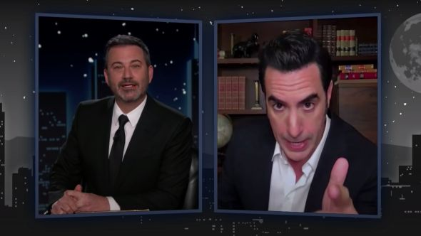 sacha baron cohen selling vaccines to celebrities jimmy kimmel live