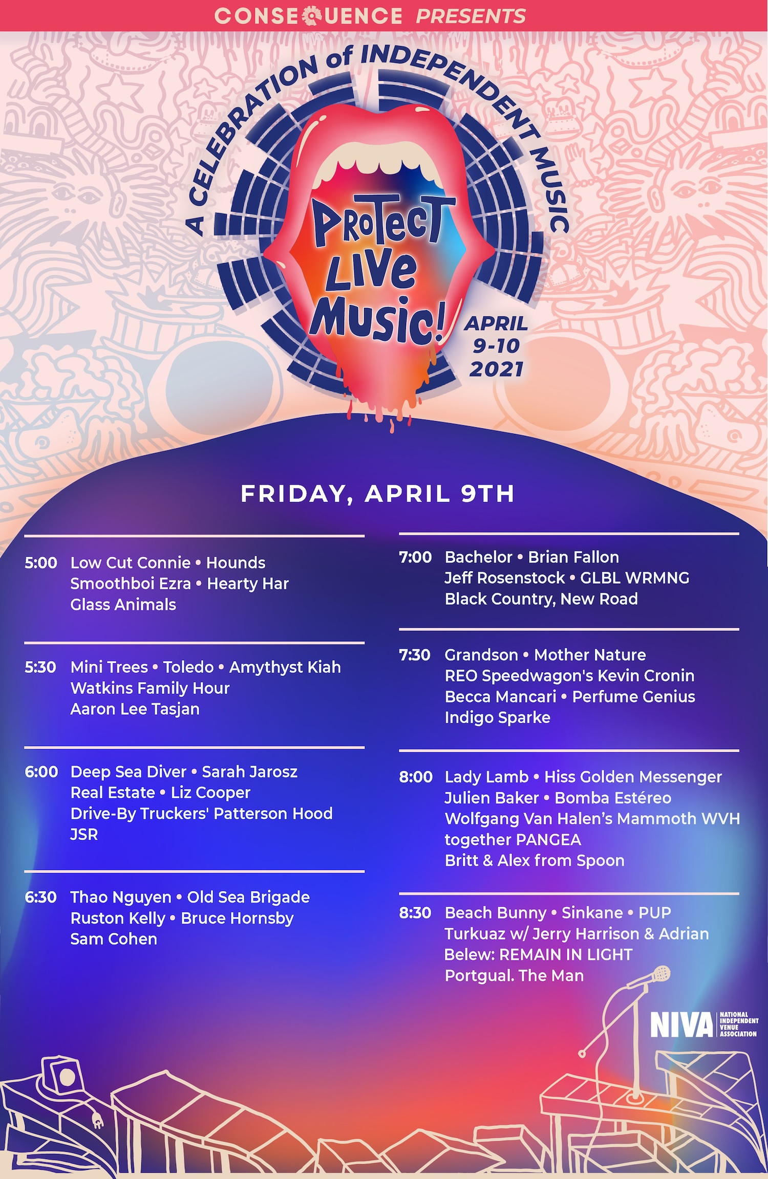 Friday Consequence of Sound Protect Live Music Daily Schedule Poster FINAL