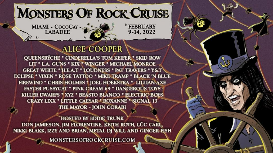 Monsters of Rock Cruise 2022 lineup poster
