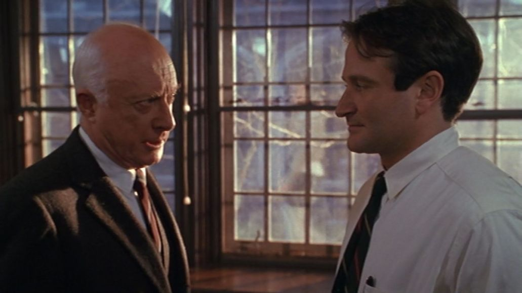 Mr. Keating (Robin Williams) and Mr. Nolan (Norman Lloyd) square off. Credit: Touchstone Pictures