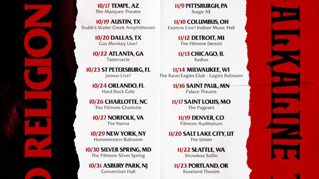 Bad Religion Alkaline Trio tour poster 2021