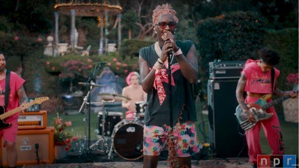 Young Thug Tiny Desk Concert video PUNK new song music stream NPR performance home Travis Barker Ski watch Yung Thug, photo via YouTube/NPR