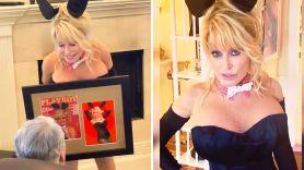 dolly parton recreates classic playboy bunny outfit photo shoot husband's birthday