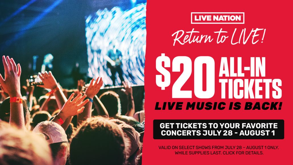 live nation return to live sales event promotion tickets $20 dollars