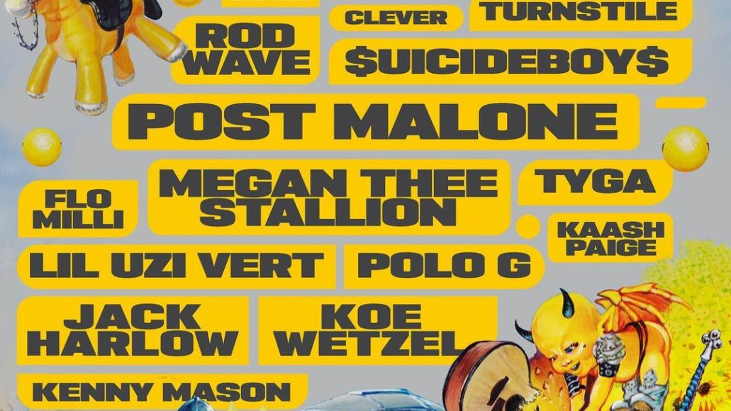 posty fest 2021 lineup poster post malone megan thee stallion lil uzi vert