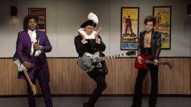 Prince sketch SNL with Rami Malek, Daniel Craig