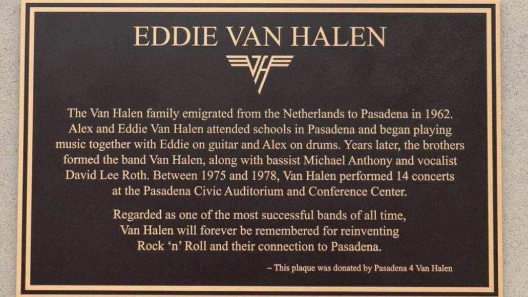 evh plaque Eddie Van Halen Memorial Plaque Unveiled in Pasadena
